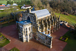 Aerial view of Rosslyn Chapel in Roslin village Midlothian, Scotland, UK