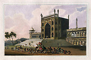 Eastern Gate of the Jummah Musjid at Delhi [Here as  JUMMA MUSJED] From the book ' Oriental scenery: one hundred and fifty views of the architecture, antiquities and landscape scenery of Hindoostan ' by Thomas Daniell, and William Daniell, Published in London by the Authors January 1, 1812
