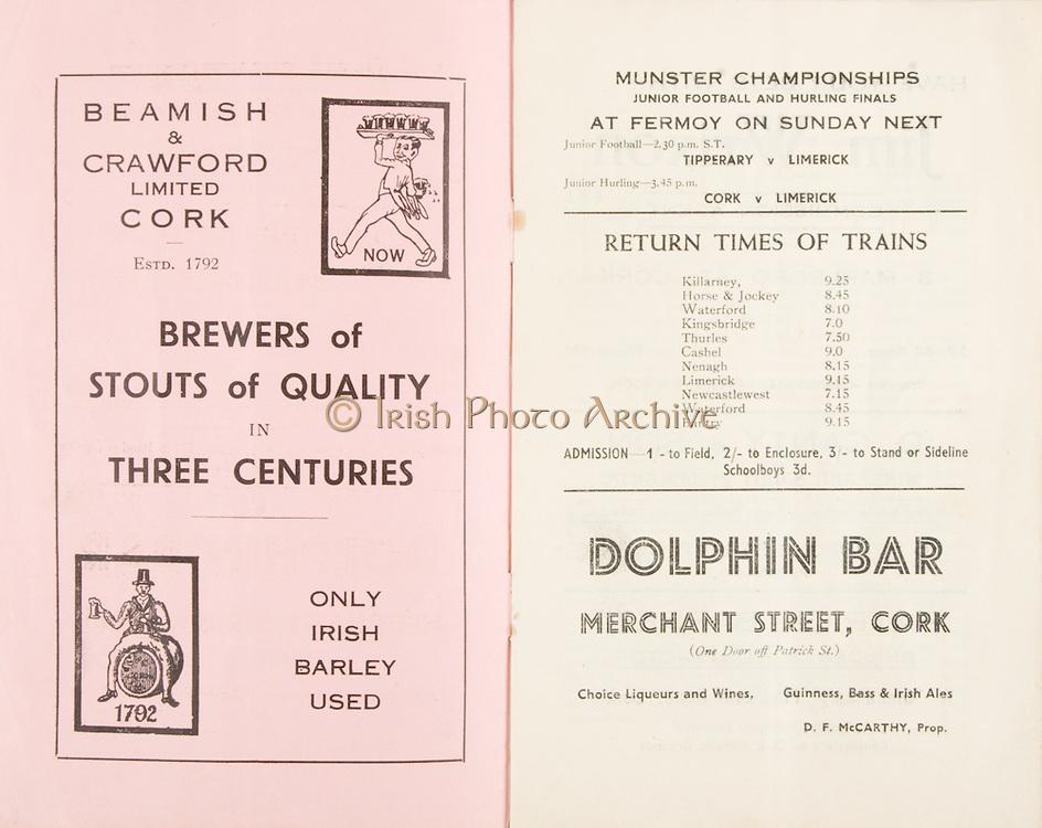 Munster Minor and Senior Hurling Championship Final, held at Croke Park, Dublin, Ireland.<br /> .25.07.1937, 07.25.1937, 25th July 1937,.25071937MSMHCF,..Beamish & Crawford Limted Cork,..Dolphin Bar, Merchant Street Cork,.