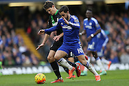 Eden Hazard of Chelsea isintercepted by Philipp Wollscheid of Stoke City. Barclays Premier league match, Chelsea v Stoke city at Stamford Bridge in London on Saturday 5th March 2016.<br /> pic by John Patrick Fletcher, Andrew Orchard sports photography.