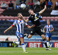 Wigan Athletic's Nick Powell battles with Blackburn Rovers' Darragh Lenihan<br /> <br /> Photographer David Shipman/CameraSport<br /> <br /> Football - The EFL Sky Bet Championship - Wigan Athletic v Blackburn Rovers - Saturday 13th August 2016 - DW Stadium - Wigan<br /> <br /> World Copyright © 2016 CameraSport. All rights reserved. 43 Linden Ave. Countesthorpe. Leicester. England. LE8 5PG - Tel: +44 (0) 116 277 4147 - admin@camerasport.com - www.camerasport.com