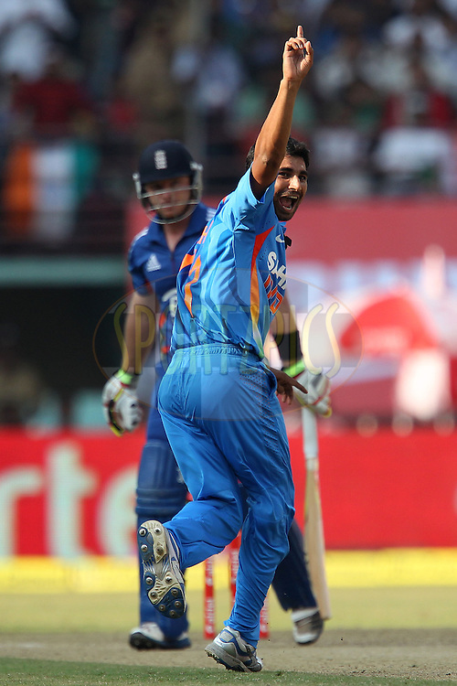 Shami Ahmed of India celebrates the wicket of Ian Bell of England during the 2nd Airtel ODI Match between India and England held at the Jawaharlal Nehru International stadium, Kochi, India on the 15th January 2013..Photo by Ron Gaunt/BCCI/SPORTZPICS ..Use of this image is subject to the terms and conditions as outlined by the BCCI. These terms can be found by following this link:..http://www.sportzpics.co.za/image/I0000SoRagM2cIEc