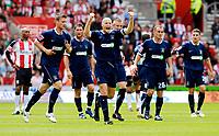 Photo: Alan Crowhurst.<br />Southampton v Southend United. Coca Cola Championship. 06/05/2007. Southend's Adam Barrett (C) celebrates his goal 0-1.