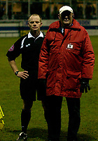 Photo: Daniel Hambury.<br />Luton Town v Cardiff City. Coca Cola Championship. 14/02/2006.<br />Referee Andy Woolmer at the end of the game is guarded by a steward after a controversial finish.