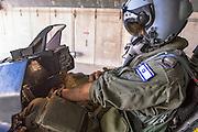 Israeli Air Force (IAF) F-16I pilot in his cockpit