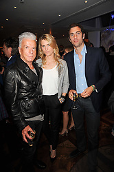 Left to right, NICKY HASLAM, LADY KINVARA BALFOUR and HUGH VAN CUTSEM at a party following the premier of Boogie Woogie held at The Westbury Hotel, Conduit Street, London on 13th April 2010.