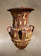 Inandik Hittite relief decorated cult libation vase with four decorative friezes featuring figures coloured in cream, red and black. The processional figures include musicians and acrobats processing to an altar, mid to late 16th century BC - İnandıktepe, Turkey. Against a warm art background