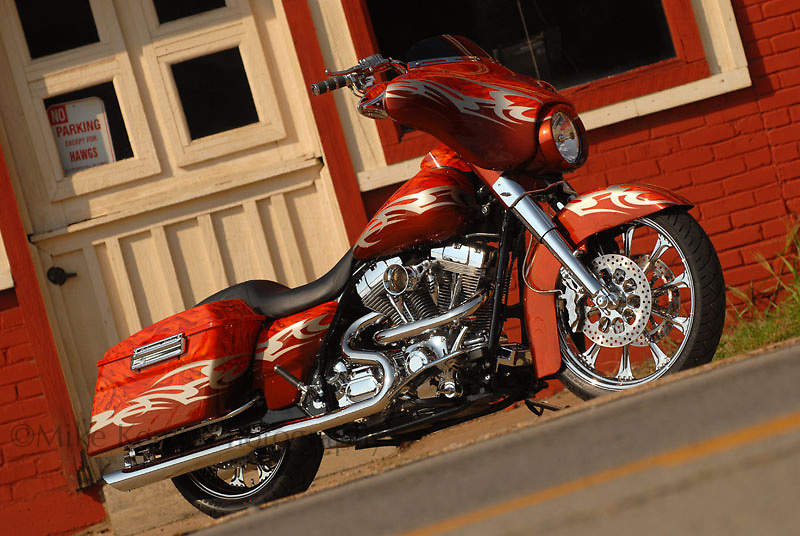 """Harley Davidson bagger dubbed """"Psychotic"""", photographed in downtown Clarksville, AR for submission to """"Baggers"""" magazine."""