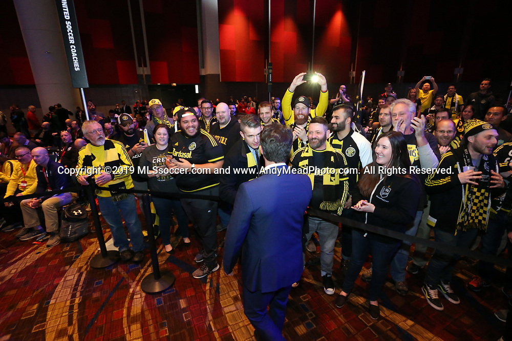 CHICAGO, IL - JANUARY 11: Los Angeles Galaxy head coach Guillermo Barros Schelotto, a former Columbus Crew legend, meets with Columbus Crew SC supporters before the draft. The MLS SuperDraft 2019 presented by adidas was held on January 11, 2019 at McCormick Place in Chicago, IL.