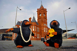 EDITORIAL USE ONLY Two LEGO brick Nifflers, which are fan-favourite creatures from the new J.K. Rowling film Fantastic Beasts: The Crimes of Grindelwald, appear in Cardiff Bay to celebrate LEGO GroupÕs new range of Wizarding World play sets, Wales.