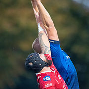 DUBLIN, IRELAND: October 16: Blade Thomson #8 of Scarlets challenges Ross Molony #4 of Leinster in a line out during the Leinster V Scarlets, United Rugby Championship match at RDS Arena on October 16th, 2021 in Dublin, Ireland. (Photo by Tim Clayton/Corbis via Getty Images)