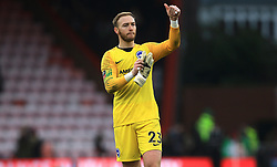 Brighton & Hove Albion goalkeeper Jason Steele applauds the fans after the final whistle during the Emirates FA Cup, third round match at the Vitality Stadium, Bournemouth.