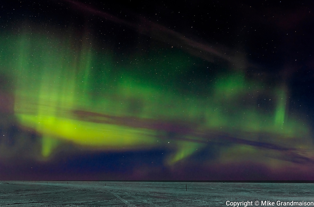 Northern lights (Aurora borealis)  on Lake Winnipeg<br />Dunnatar<br />Manitoba<br />Canada