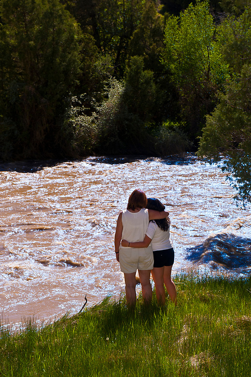 Mother and daughter enjoying the view along the Uncompaghre River, Ridgway, Colorado USA