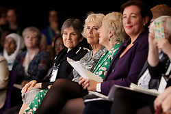 The Duchess of Cornwall sitting next to the Commissioner of the Metropolitan Police Cressida Dick as she attends a roundtable meeting and the closing session of the Women's Forum at the Queen Elizabeth II Conference Centre in London, during the Commonwealth Heads of Government Meeting.