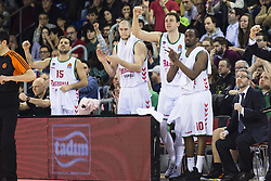 January 27, 2017 - Barcelona, Spain - Baskonia players celebrating the win in action during the Euroleague Turkish Airlines EuroLeague regular season between FC Barcelona vs Baskonia Vitoria Gasteiz at Palau Blaugrana on January 28th, 2017 in Barcelona, Spain. (Credit Image: © Xavier Bonilla/NurPhoto via ZUMA Press)