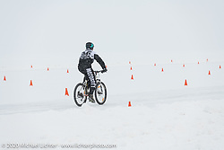 A bicycle on the qualifying track at the Baikal Mile Ice Speed Festival. Maksimiha, Siberia, Russia. Thursday, February 27, 2020. Photography ©2020 Michael LichterBaikal Mile Ice Speed Festival. Maksimiha, Siberia, Russia. Thursday, February 27, 2020. Photography ©2020 Michael Lichter.