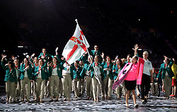 Northern Ireland's flag bearer Caroline O'Hanlon leads out her team during the Opening Ceremony for the 2018 Commonwealth Games at the Carrara Stadium in the Gold Coast, Australia.