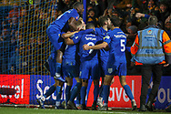 AFC Wimbledon players celebrating during the The FA Cup match between AFC Wimbledon and West Ham United at the Cherry Red Records Stadium, Kingston, England on 26 January 2019.