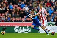Jamie Vardy of Leicester City (l) looks to get away from Ryan Shawcross of Stoke City. Premier league match, Stoke City v Leicester City at the Bet365 Stadium in Stoke on Trent, Staffs on Saturday 4th November 2017.<br /> pic by Chris Stading, Andrew Orchard sports photography.