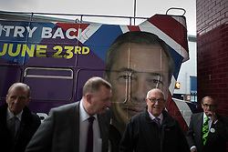 """© Licensed to London News Pictures . 25/05/2016 . Bolton , UK . People arrive at the event . Nigel Farage , Kate Hoey and Paul Nuttall at a """" We Want Our Country Back """" public meeting in favour of the UK leaving the EU at the Premier Suite of Bolton Wanderers' Macron Stadium . Photo credit : Joel Goodman/LNP"""