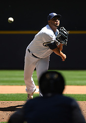 June 13, 2018 - Milwaukee, WI, U.S. - MILWAUKEE, WI - JUNE 13: Milwaukee Brewers Starting pitcher Jhoulys Chacin (45) warms up during a MLB game between the Milwaukee Brewers and Chicago Cubs on June 13, 2018 at Miller Park in Milwaukee, WI. The Brewers defeated the Cubs 1-0.(Photo by Nick Wosika/Icon Sportswire) (Credit Image: © Nick Wosika/Icon SMI via ZUMA Press)