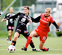 Fotball , <br /> Toppserien kvinner , <br /> 18.05.08 , <br /> Røa kunstgress stadion , <br /> Dynamite Girls Røa - Arna Bjørnar , <br /> Kristine Edner Røa , <br /> Maren Mjelde Arna , <br /> Foto: Thomas Andersen / Digitalsport