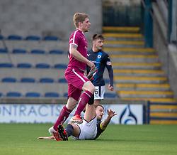 Arbroath's Colin Hamilton scoring their first half goal. half time ; Raith Rovers 0 v 1 Arbroath. Scottish Football League Division One game played 16/2/2109 at Stark's Park.