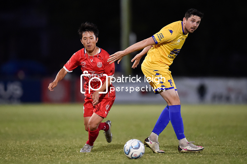 BRISBANE, AUSTRALIA - OCTOBER 18:  during the NPL Queensland Senior Men's Round 8 match between Olympic FC and Capalaba Bulldogs at Goodwin Park on October 18, 2020 in Brisbane, Australia. (Photo by Patrick Kearney)