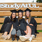 """23.08.2016        <br /> Over 300 students graduated from the Faculty of Arts Humanities and Social Sciences at the University of Limerick today. <br /> <br /> Attending the conferring ceremony were, Bachelor of Arts in Law and Accounting graduates, Rachel Kennedy, Templederry Co. Tipperary, Dawn Brophy, Mountrath Co. Laois, and Ciara McGrath, Nenagh Co.Tipperary. Picture: Alan Place.<br /> <br /> <br /> <br /> <br /> UL Graduates Employability remains consistently high as they are 14% more likely to be employed after Graduation than any other Irish University Graduate<br /> Each year, the Careers Service collects information about the 'First Destinations' of UL graduates. During the April/May period following graduation, we survey those who have completed full-time undergraduate and postgraduate courses for details on their current status. This current survey was conducted nine months after graduation and focuses on the employment and further study patterns of the graduates of 2015. A total of 2,933 graduates were surveyed and a response rate of 87% was achieved. <br /> As the University of Limerick commences four days of conferring ceremonies which will see 2568 students graduate, including 50 PhD graduates, UL President, Professor Don Barry highlighted the continued demand for UL graduates by employers; """"Traditionally UL's Graduate Employment figures trend well above the national average. Despite the challenging environment, UL's graduate employment rate for 2015 primary degree-holders is now 14% higher than the HEA's most recently-available national average figure which is 58% for 2014"""". The survey of UL's 2015 graduates showed that 92% are either employed or pursuing further study."""" Picture: Alan Place"""