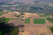 Aerial view of Sauk Prairie/Prairie du Sac/Sauk City, Sauk County, Wisconsin, with the Wisconsin River running through the photo.