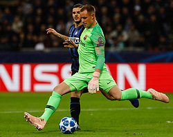 November 6, 2018 - Milan, Italy - Mauro Icardi (L) of Inter Milan and Marc-Andre ter Stegen of Barcelona vie for the ball during the Group B match of the UEFA Champions League between FC Internazionale and FC Barcelona on November 6, 2018 at San Siro Stadium in Milan, Italy. (Credit Image: © Mike Kireev/NurPhoto via ZUMA Press)