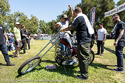 Mike Davis got BF11 invited builder Oliver Jones' Harley-Davidson UL Flathead / Knucklehead chopper started at the Born-Free Vintage Motorcycle show at Oak Canyon Ranch, Silverado, CA, USA. Sunday, June 23, 2019. Photography ©2019 Michael Lichter.
