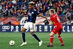 September 22, 2018 - Foxborough, MA, U.S. - FOXBOROUGH, MA - SEPTEMBER 22: Chicago Fire midfielder Dax McCarty (6) hangs on to New England Revolution forward Juan Agudelo (17) during a match between the New England Revolution and the Chicago Fire on September 22, 2018, at Gillette Stadium in Foxborough, Massachusetts. The teams played to a 2-2 draw. (Photo by Fred Kfoury III/Icon Sportswire) (Credit Image: © Fred Kfoury Iii/Icon SMI via ZUMA Press)