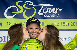 Overall classification winner Luka Mezgec (SLO) of Orica - Scott celebrates in green jersey during trophy ceremony after the Stage 2 of 24th Tour of Slovenia 2017 / Tour de Slovenie from Ljubljana to Ljubljana (169,9 km) cycling race on June 16, 2017 in Slovenia. Photo by Vid Ponikvar / Sportida