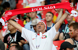 MOSCOW, June 19, 2018  A fan of Poland cheers prior to a Group H match between Poland and Senegal at the 2018 FIFA World Cup in Moscow, Russia, June 19, 2018. (Credit Image: © Xu Zijian/Xinhua via ZUMA Wire)