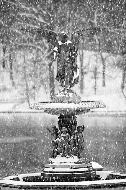 The Angel of the Waters at the Bethesda Fountain in winter.