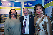 NO FEE PICTURES<br /> 23/1/16 Minister for Tourism Michael Ring and Maureen Ledwith, organiser of the Holiday World Show at the Carlow Tourism stand at the Holiday World Show at the RDS in Dublin. Picture: Arthur Carron