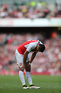 Alexis Sanchez of Arsenal hands looks dejected after missing a chance to score. Barclays Premier league match, Arsenal v Crystal Palace at the Emirates Stadium in London on Sunday 17th April 2016.<br /> pic by John Patrick Fletcher, Andrew Orchard sports photography.