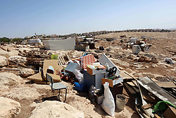 July 5, 2018 - Jerusalem, West Bank, Palestinian Territory - A picture taken on July 4, 2018 shows remains of a dwellings after it was demolished by Israeli forces in Abu Nuwar village near Abu Dis, east of Jerusalem in the occupied West Bank. Israel carried out a series of demolitions Wednesday on what it described as illegally built structures  (Credit Image: © Shadi Hatem/APA Images via ZUMA Wire)