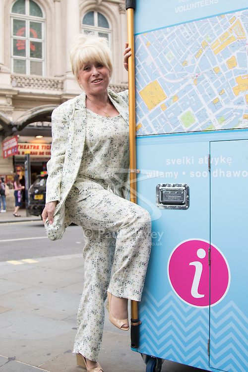 Barbara Windsor MBE attends the launch of Welcome Pods in Piccadilly Circus, designed to help visitors to London to get the most out of the city. The pods carry a wealth of information including maps and leaflets to assist tourists and are staffed by Ambassadors from the Mayor of London's Team London initiative, which has over 100,000 volunteers signed up.
