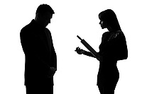 one caucasian couple man and woman expressing domestic violence in studio silhouette isolated on white background i