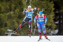 Michal Slesingr (CZE) and Evgeniy Garanichev (RUS) during Single Mixed Relay at day 1 of IBU Biathlon World Cup 2018/19 Pokljuka, on December 2, 2018 in Rudno polje, Pokljuka, Pokljuka, Slovenia. Photo by Ziga Zupan / Sportida