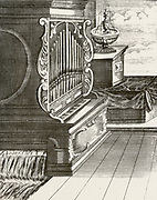 Water Power: A fountain and a water-powered organ.  From 1715 edition of 'Magia Naturalis'  by Giovanni Battista della Porta.