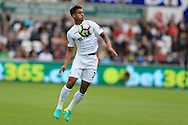 Kyle Naughton of Swansea city in action. Premier league match, Swansea city v Hull city at the Liberty Stadium in Swansea, South Wales on Saturday 20th August 2016.<br /> pic by Andrew Orchard, Andrew Orchard sports photography.