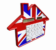 Calculator shaped like house with Union Jack flag on it. Pound symbols on LCD screen