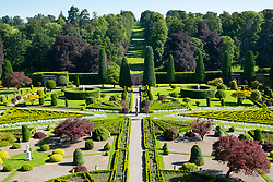 Drummond Castle Gardens at Drummond Castle in Perthshire, Scotland , UK Editorial Use Only
