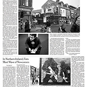 "Tearsheet of ""Immigrants met with fists in Northern Ireland"" published in The New York Times"