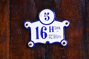 Number 5, 16 hectolitres and 82 litres. Chateau de Nouvelles. Fitou. Languedoc. Barrel cellar. Wooden fermentation and storage tanks. France. Europe.