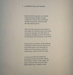 Pictured: Garden Full of Snow by Christine De Luca<br /><br />Another Time, Another Place at The Scottish Gallery - an exhibition of works by renowned artist Victoria Crowe OBE which have inspired 12 poems by poet Christine De Luca<br /><br />Ger Harley   EEm 29 April 2021
